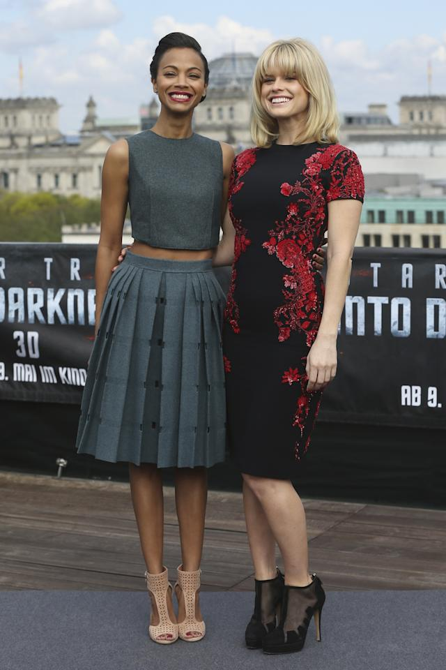 BERLIN, GERMANY - APRIL 28:  (L-R) Actresses Zoe Saldana and Alice Eve attend the 'Star Trek Into Darkness' Photocall at China Club on April 28, 2013 in Berlin, Germany.  (Photo by Sean Gallup/Getty Images for Paramount Pictures)