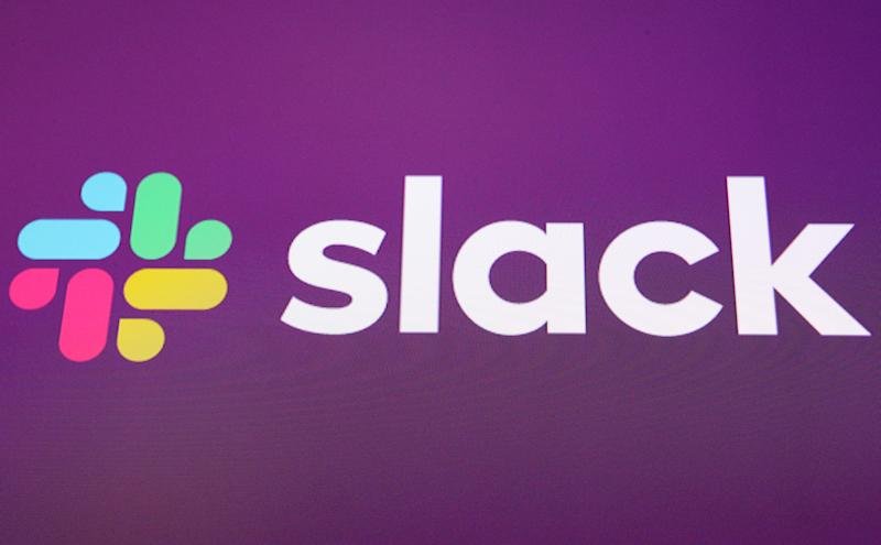 The Slack Technologies Inc. logo is seen at the New York Stock Exchange (NYSE) during the company's IPO in New York, U.S. June 20, 2019. REUTERS/Brendan McDermid