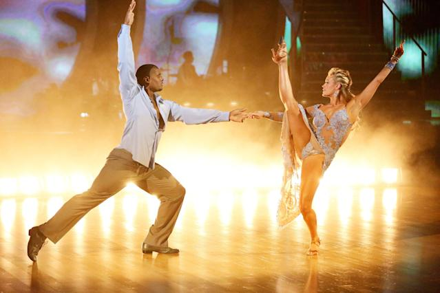 "Michael Sam performs with Peta Murgatroyd on ""Dancing with the Stars."" (Getty Images)"