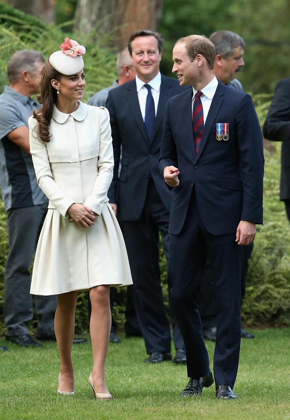 <p>For a day commemorating World War One, Kate donned a cream Alexander McQueen coat dress and a matching Jane Taylor hat. Patent nude L.K. Bennett pumps and a grey Alexander McQueen clutch finished off her elegant ensemble. </p><p><i>[Photo: PA]</i></p>
