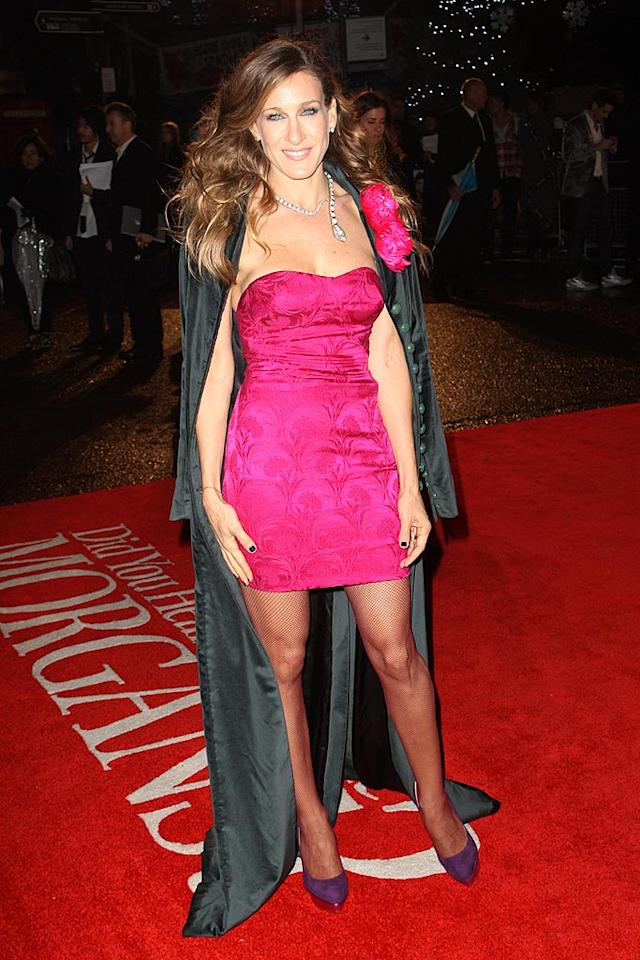 """Sarah Jessica Parker wowed the crowd as she braved the cold in a hot pink L'Wren Scott mini dress and velvet coat, and killer Charlotte Olympia platform heels at the London premiere of her latest film """"Did You Hear About The Morgans?"""", a comedy which hits theaters next Friday. Dave Hogan/Mission Pictures/<a href=""""http://www.gettyimages.com/"""" target=""""new"""">GettyImages.com</a> - December 8, 2009"""