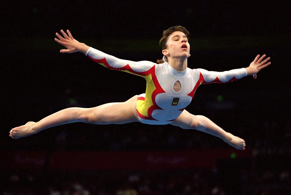 25 Sep 2000: Esther Moya of Spain in action during the Womens Gymnastics Floor Exercise Final at the Sydney Superdome on Day 10 of the Sydney 2000 Olympic Games in Sydney, Australia. \ Mandatory Credit: Shaun Botterill /Allsport