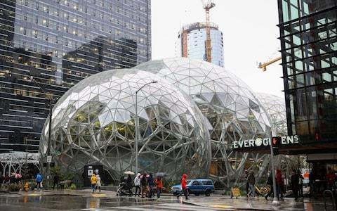 <span>The recently completed Amazon Spheres building in Seattle, where the company is headquartered</span> <span>Credit: Reuters </span>