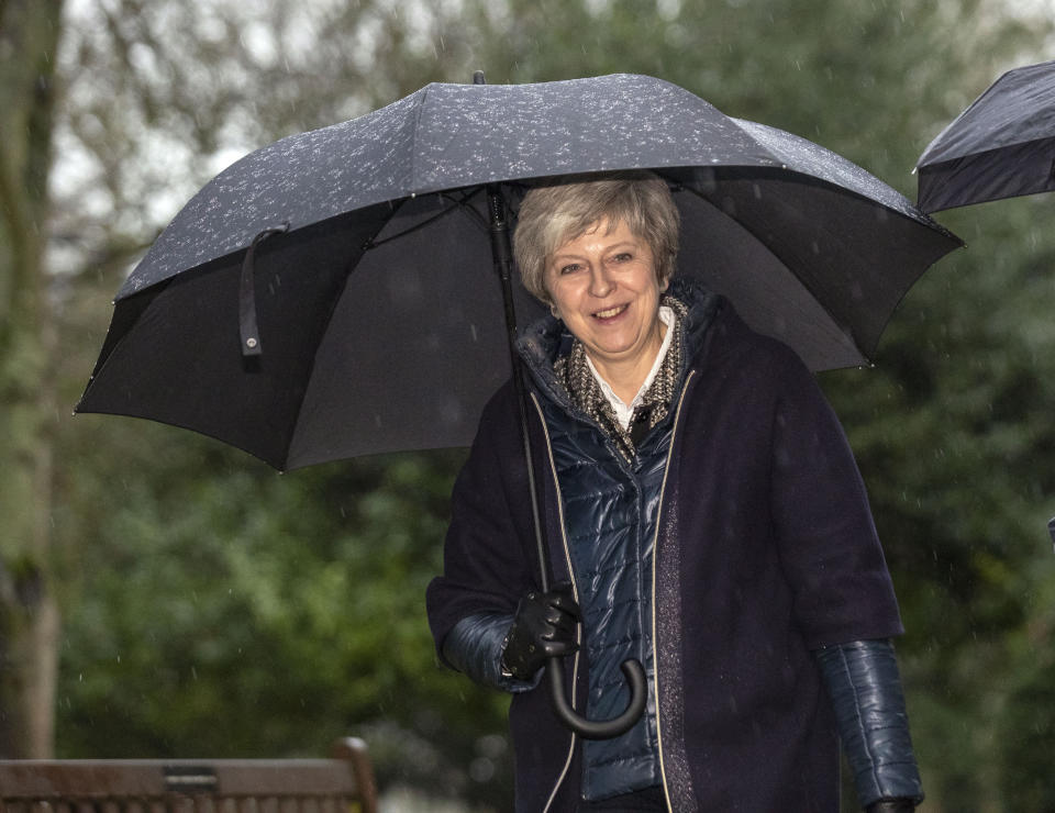 Theresa May leaves church in her Maidenhead constituency on Sunday ahead of a crucial week for Brexit. (PA)