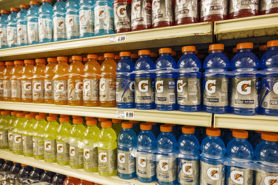 Shelves of sports drinks for sale in Winn Dixie. (Photo by: Jeffrey Greenberg/Universal Images Group via Getty Images)