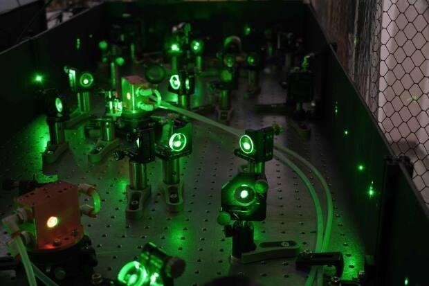 This is a closer look at the laser system, which took about 10 years to build. It had to produce a precise colour of light and fit in a confined space in the ALPHA experiment apparatus at CERN.