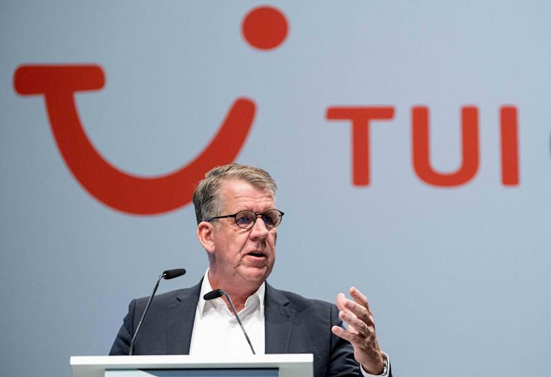 11 February 2020, Lower Saxony, Hanover: Friedrich Joussen, CEO of the Tui Group, speaks at the Tui Group's annual general meeting. The world's largest travel group Tui presented its business figures for the first quarter. Photo: Peter Steffen/dpa (Photo by Peter Steffen/picture alliance via Getty Images)