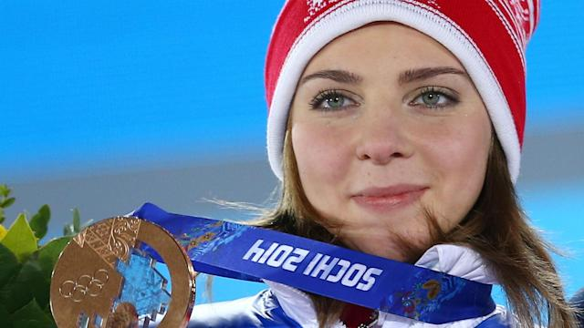 Elena Nikitina is banned from the Olympics for breaching anti-doping rules but was crowned European champion on Friday.