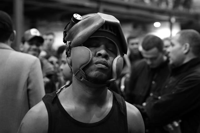 "<p>Dwayne Leeshue gets in the right mindset before his fight against Chris Chin during the ""Bronx Tough Turkey Tussle"" at the New York Expo Center in the Bronx, New York, on Nov. 16, 2017. (Photo: Gordon Donovan/Yahoo News) </p>"