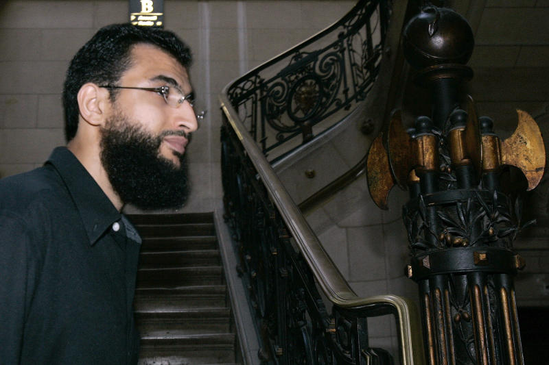 FILE - This is a July 3, 2006 file photo of defendant Khaled ben Mustafa as he arrives at the Paris courthouse where six French men who were held at the U.S. prison in Guantanamo Bay go on trial for suspected links to terrorism. Frenchmen imprisoned at the Guantanamo prison camp are using documents released by WikiLeaks in their defense in an appeals trial that started in Paris, Thursday Jan.20, 2011.(AP Photo/Jacques Brinon, File)