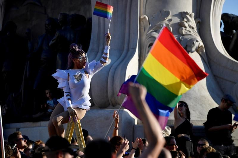 FILE PHOTO: Protest against latest anti-LGBTQ law in Budapest