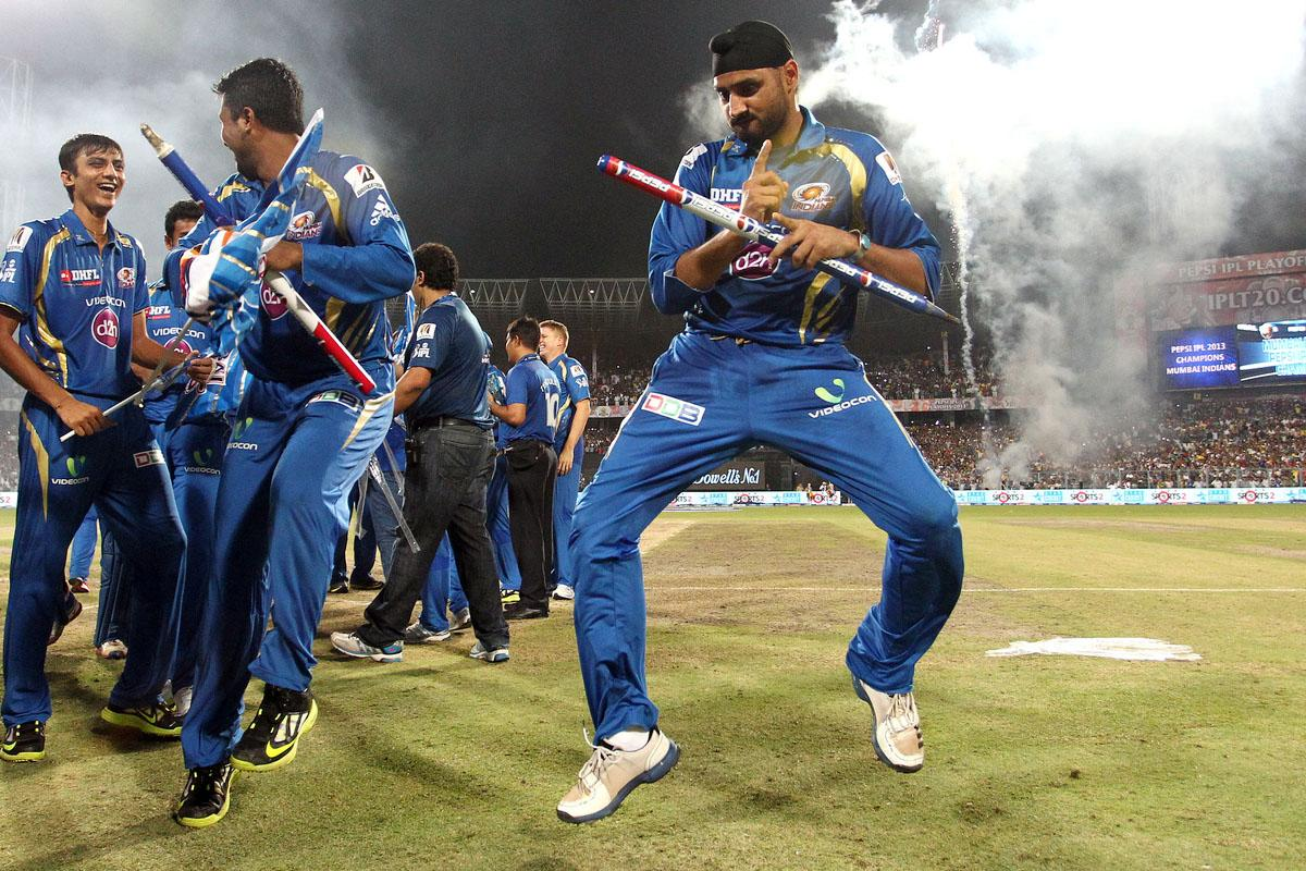 Harbhajan Singh of Mumbai Indians celebrates after beating Chennai Super Kings to win the Pepsi Indian Premier League during the Final of the Pepsi Indian Premier League between The Chennai Superkings and the Mumbai Indians held at the Eden Gardens Stadium in Kolkata on the 26th May 2013.(BCCI)