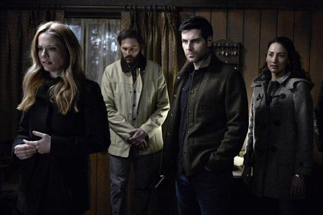 Claire Coffee as Adalind Schade, Silas Weir Mitchell as Monroe, David Giuntoli as Nick Burkhardt, and Bree Turner as Rosalee Calvert in 'Grimm' (Credit: Allyson Riggs/NBC)