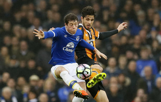 """<p>Britain Football Soccer – Everton v Hull City – Premier League – Goodison Park – 18/3/17 Hull City's Andrea Ranocchia in action with Everton's Ross Barkley Action Images via Reuters / Jason Cairnduff Livepic EDITORIAL USE ONLY. No use with unauthorized audio, video, data, fixture lists, club/league logos or """"live"""" services. Online in-match use limited to 45 images, no video emulation. No use in betting, games or single club/league/player publications. Please contact your account representative for further details. </p>"""