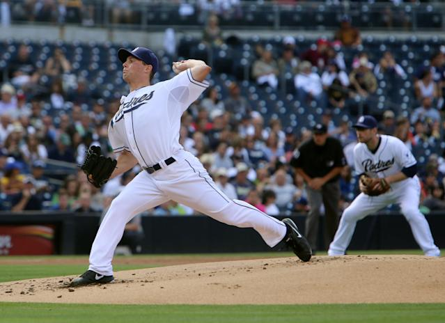 San Diego Padres starting pitcher Robbie Erlin throws against the Arizona Diamondbacks during the first inning of a baseball game on Thursday, Sept. 26, 2013, in San Diego. (AP Photo/Don Boomer)