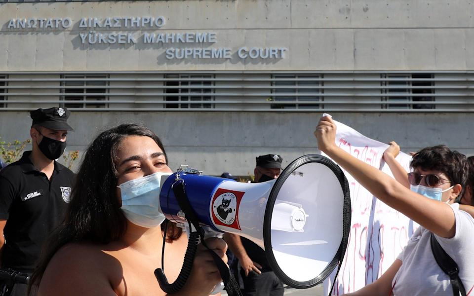 Activists demonstrate outside the Supreme Court in Nicosia - KATIA CHRISTODOULOU/Shutterstock