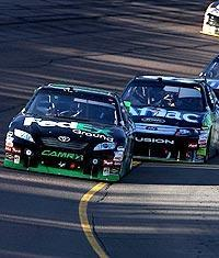 Denny Hamlin led 190 laps, but a late pit stop sent him from second to 19th with only a handful of laps to go