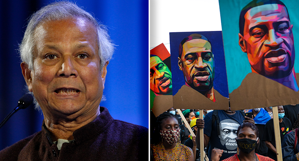 Left - Muhammad Yunus with a blue background. Right - A George Floyd protest.