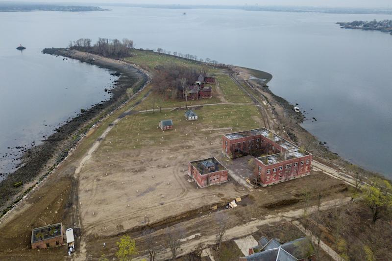 Drone pictures show bodies being buried on New York's Hart Island where the department of corrections is dealing with more burials overall, amid the coronavirus disease (COVID-19) outbreak in New York City.