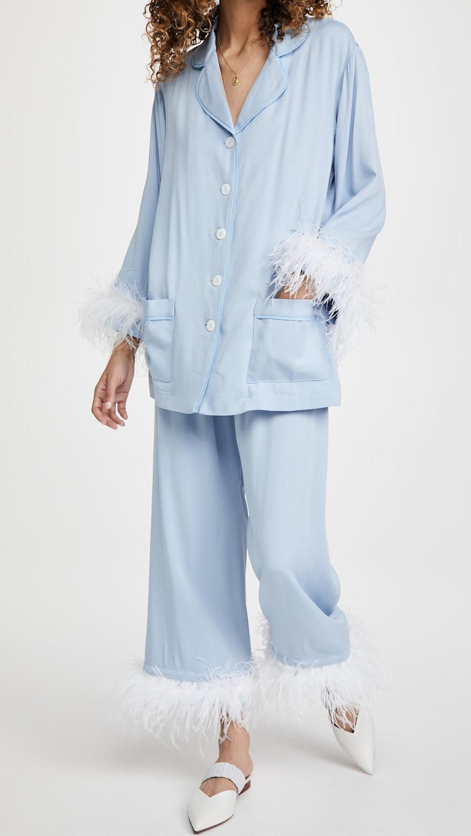 <p>Live your best extra life in this <span>Sleeper Cornflower Party Pajama Set</span> ($320).</p>