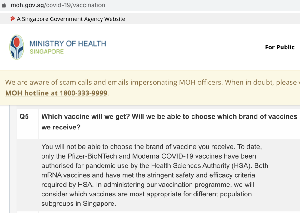 Question in vaccination FAQs on Ministry of Health's website as of 13 April 2021. (SCREENSHOT: Ministry of Health)