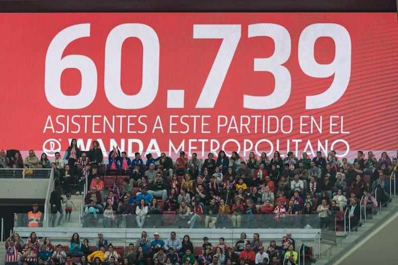 MADRID, SPAIN - MARCH 17: Number of visitors is seen on the score board during the Liga Iberdrola match between Atletico de Madrid and Barcelona at Wanda Metropolitano on March 17, 2019 in Madrid, Spain. (Photo by TF-Images/Getty Images)