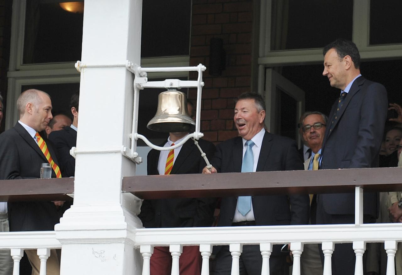 Rod Marsh rings the 5 minute bell on day three of the Second Investec Ashes Test at Lord's Cricket Ground, London.