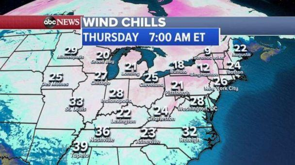 PHOTO: Some of that cold air will move into the East Coast and the I-95 corridor Wednesday night into Thursday morning and the wind chill is expected to be in the 20s and teens for the Northeast and it will feel like freezing as far south as Raleigh. (ABC News)