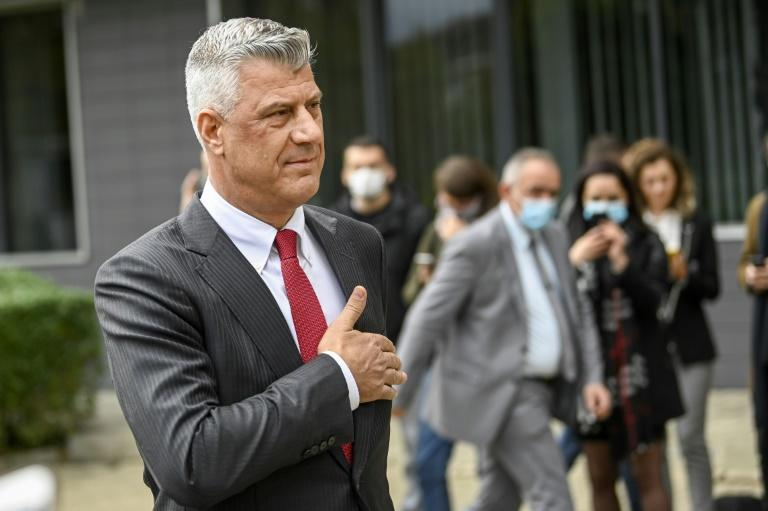 Thaci at a press conference in Pristina after he resigned as Kosovo president