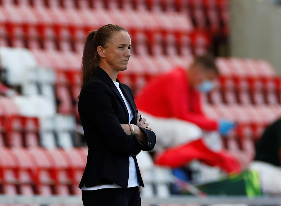 Casey Stoney has steered Manchester United to the top of the Barclays FA Women's Super League table. Pic: Reuters