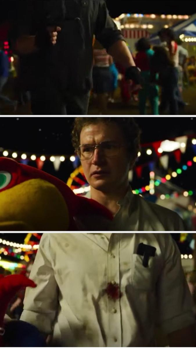 Alexei drops his stuffed animal after he gets shot