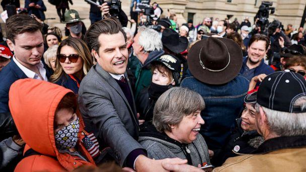 PHOTO: Rep. Matt Gaetz greets supporters after speaking to a crowd during a rally against Rep. Liz Cheney in Cheyenne, Wyo, Jan. 28, 2021. (Michael Ciaglo/Getty Images)