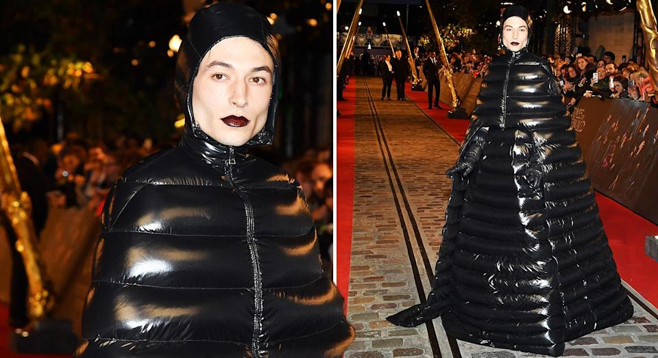 Ezra Miller wore a floor length Moncler puffer coat at the 'Fantastic Beasts' premiere. [Photo: Getty]