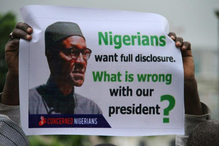 Protesters are demanding details about President Muhammadu Buhari's illness after he's been away in London for more than three months for treatment. They say Buhari should return or resign