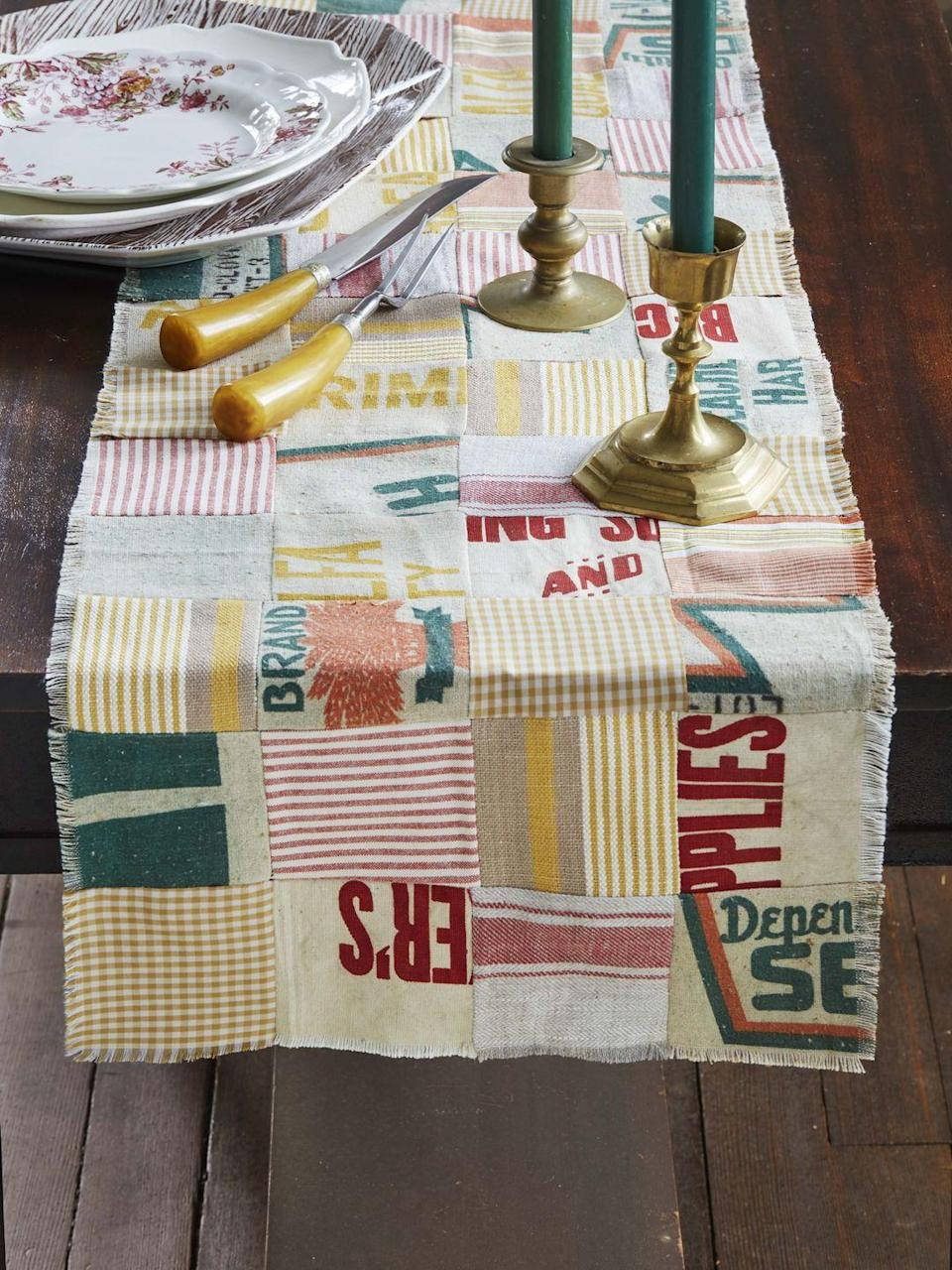 """<p>Vintage grain sacks and scraps of fabric make quite a statement when cut and sewn together in a patchwork pattern.<strong><br></strong></p><p><strong>T</strong><strong>o make: </strong>Cut 4-inch squares from grain sacks and coordinating assorted fabrics, such as gingham, stripes, and knobby linen. Layout in a patchwork pattern mixing the materials; sew together. Fringe the cut edges as desired. <br></p><p><a class=""""link rapid-noclick-resp"""" href=""""https://www.amazon.com/Assorted-Squares-Patchwork-Scrapbooking-Quilting/dp/B075XLMQV5/ref=sr_1_6?linkCode=ogi&tag=syn-yahoo-20&ascsubtag=%5Bartid%7C10050.g.2063%5Bsrc%7Cyahoo-us"""" rel=""""nofollow noopener"""" target=""""_blank"""" data-ylk=""""slk:SHOP FABRIC SCRAPS"""">SHOP FABRIC SCRAPS</a></p>"""