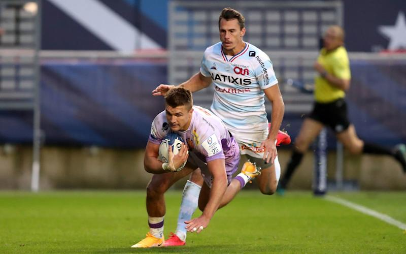 Exeter Chiefs' Henry Slade scores his sides fourth try during the European Champions Cup Final - PA