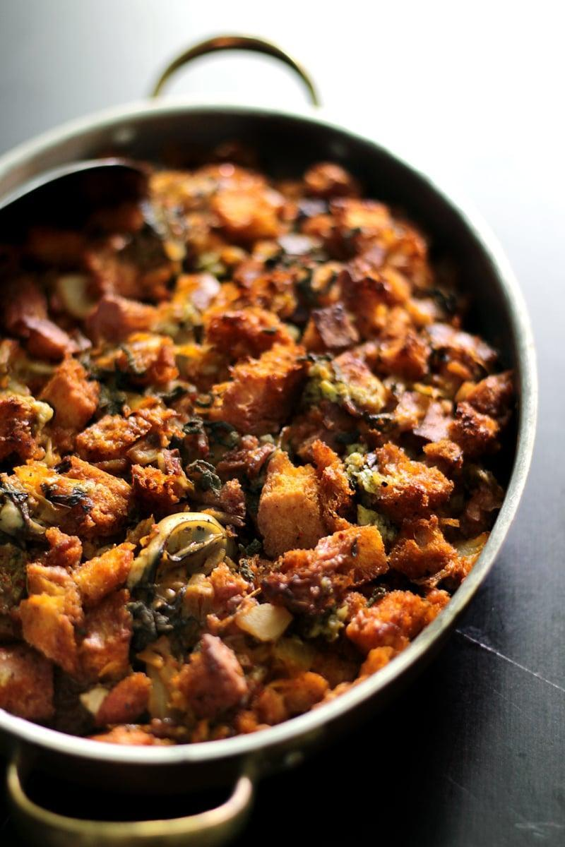 "<p>Take stuffing to a place it has never been before with this red-hot recipe. Featuring oysters and kimchi, it's exactly what your meal needs if you're ready to break out of the traditional stuffing norm. </p> <p><strong>Get the recipe</strong>: <a href=""http://ladyandpups.com/2013/11/19/red-hot-oyster-kimchi-dressing-eng/"" class=""link rapid-noclick-resp"" rel=""nofollow noopener"" target=""_blank"" data-ylk=""slk:oyster kimchi stuffing"">oyster kimchi stuffing</a> </p>"