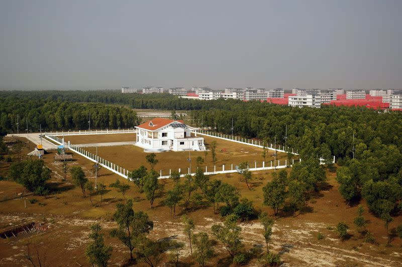 A view of a VVIP residential building at Bhasan Char island in Noakhali district