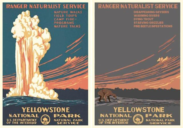Hannah Rothstein used her project to highlight problems facing Yellowstone National Park. (Images: Left, Ranger Doug/rangerdoug.com, right, Hannah Rothstein/hrothstein.com)