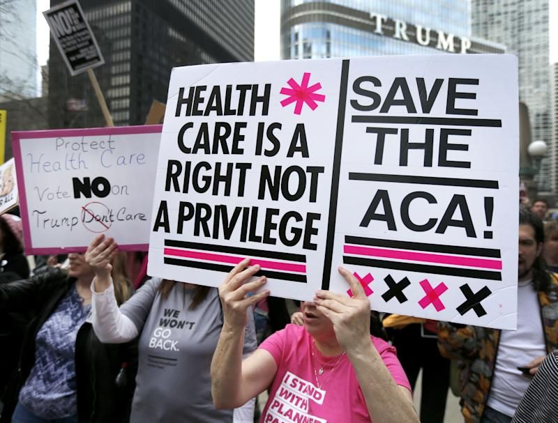 A rally against the repeal of the Affordable Care Act