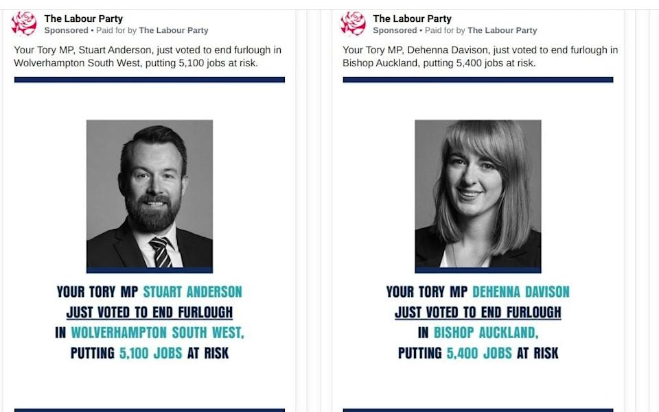 Several of the adverts have targeted multiple Tory MPs