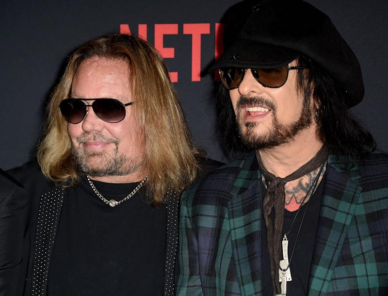 """Vince Neil, left, and Nikki Sixx attend """"The Dirt"""" premiere in Hollywood, California, on Monday."""