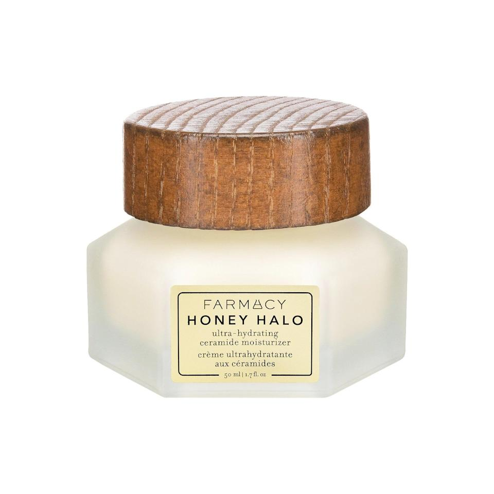 "<h3>Farmacy Honey Halo Ultra-Hydrating Ceramide Moisturizer</h3><br>This luxe moisturizer is packed with ceramides, propolis, and a royal jelly blend to treat your skin to a decadent layer of long-lasting moisture.<br><br><strong>Farmacy</strong> Honey Halo Ultra-Hydrating Ceramide Moisturizer, $, available at <a href=""https://go.skimresources.com/?id=30283X879131&url=https%3A%2F%2Ffave.co%2F37XICH0"" rel=""nofollow noopener"" target=""_blank"" data-ylk=""slk:Sephora"" class=""link rapid-noclick-resp"">Sephora</a>"