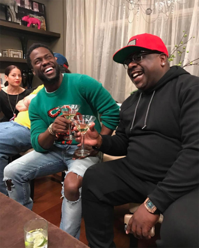 "<p>""Nothing but laughs and good times with my brother @cedtheentertainer ….. #SuperBowlFun #livelovelaugh,"" the comedian wrote alongside a photo from his Super Bowl bash. (Photo: <a rel=""nofollow"" href=""https://www.instagram.com/p/BQJ37EAF7Te/?taken-by=kevinhart4real&hl=en"">Instagram</a>) </p>"