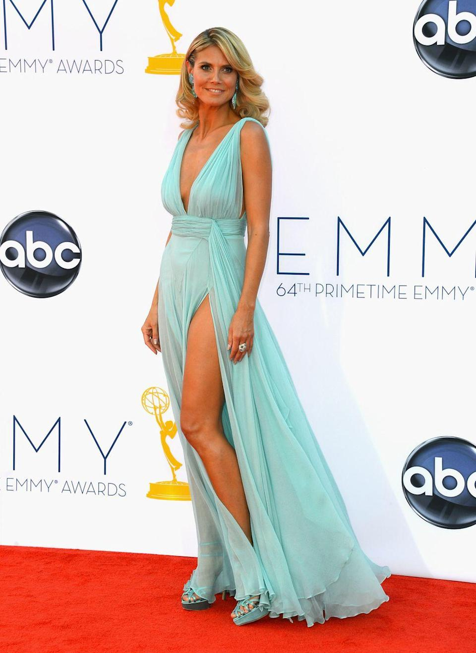 <p>While Heidi Klum's dress for the 2012 Emmys is a bit more Grecian-inspired than Jasmine's outfit, the color is an exact match.</p>