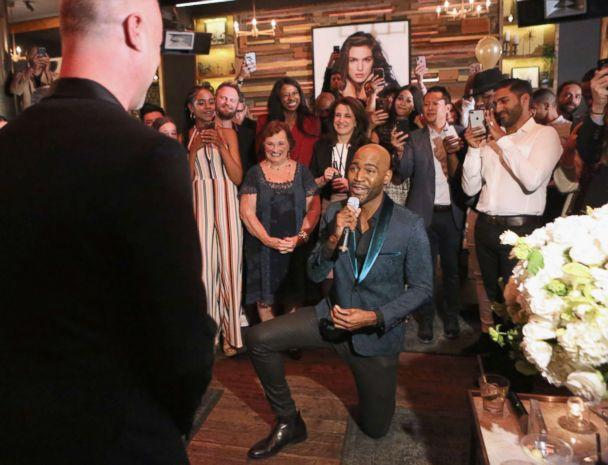 PHOTO: Karamo Brown proposes to Ian Jordan on May 9, 2018 in West Hollywood, Calif. (Tasia Wells/Getty Images)