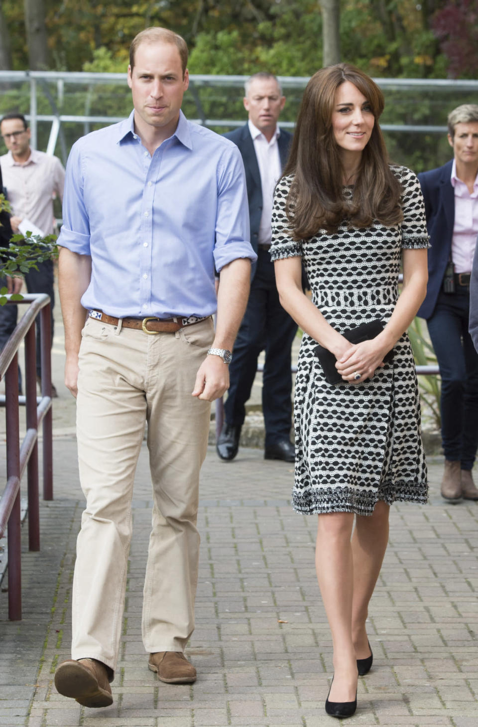 <p>The Duchess chose a monochrome Tory Burch dress for a mental health charity event. She accessorised with Stuart Weitzman heels and one of her favourite bags, the Mulberry Bayswater clutch. </p><p><i>[Photo: PA]</i></p>