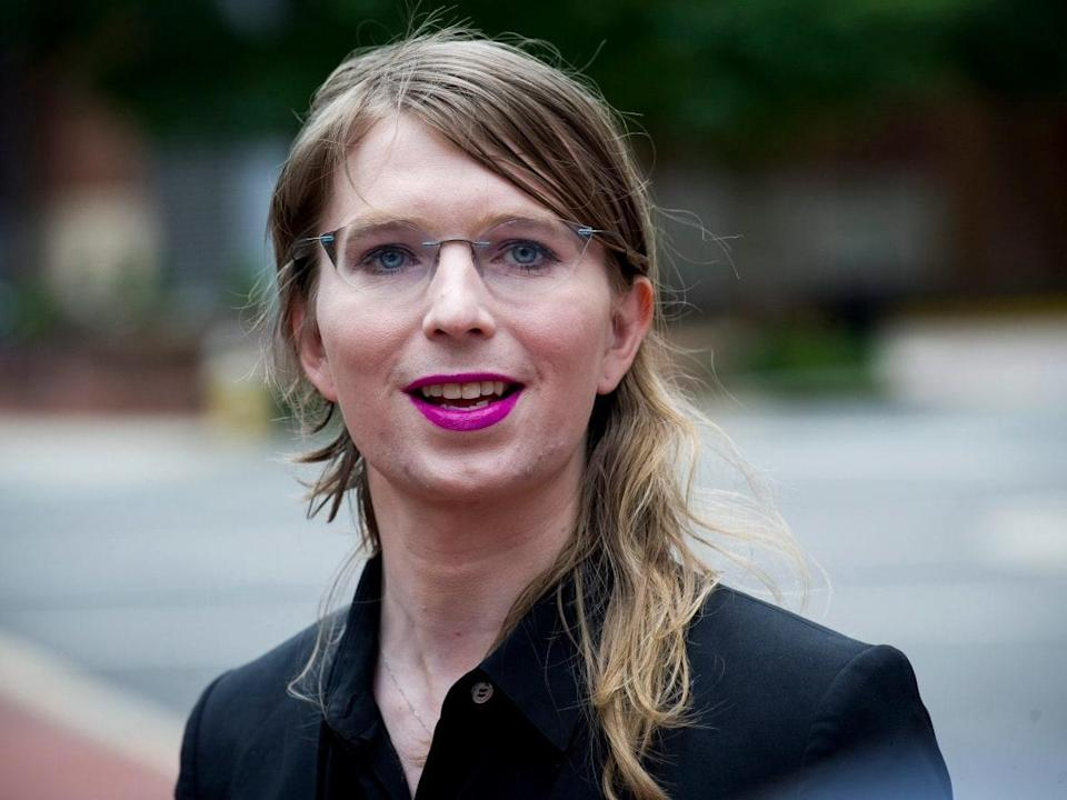 Former army intelligence analyst Chelsea Manning, seen in 2016, speaks with reporters, outside federal court in Alexandria, Va. The Canadian government is seeking to permanently ban her from entering, arguing that she should be denied entry because of the seriousness of her prior convictions on espionage charges. (The Associated Press - image credit)