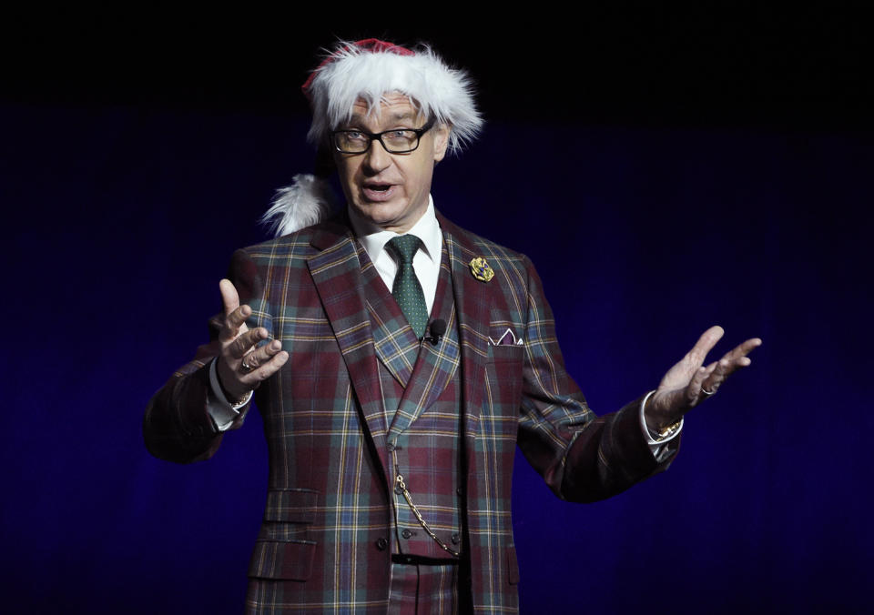 """Paul Feig, director of the upcoming film """"Last Christmas,"""" speaks during the Universal Pictures presentation at CinemaCon 2019, the official convention of the National Association of Theatre Owners (NATO) at Caesars Palace, Wednesday, April 3, 2019, in Las Vegas. (Photo by Chris Pizzello/Invision/AP)"""
