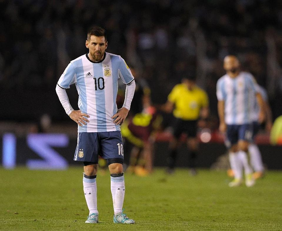 Argentina's Lionel Messi, seen during their FIFA 2018 World Cup qualifier match against Venezuela, in Buenos Aires, on September 5, 2017 (AFP Photo/Alejandro PAGNI)